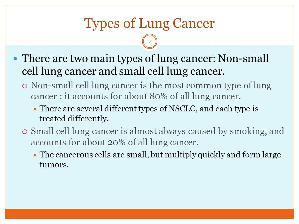 Types of Lung Cancer There are two main types of lung cancer: Non-small cell lung cancer and small cell lung cancer.