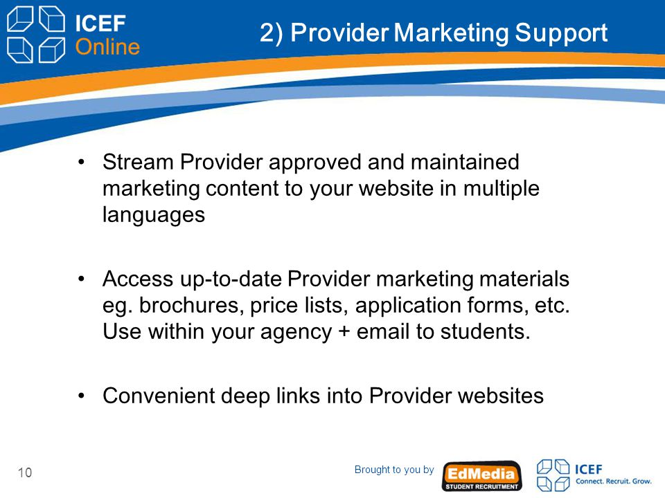 10 2) Provider Marketing Support Stream Provider approved and maintained marketing content to your website in multiple languages Access up-to-date Provider marketing materials eg.