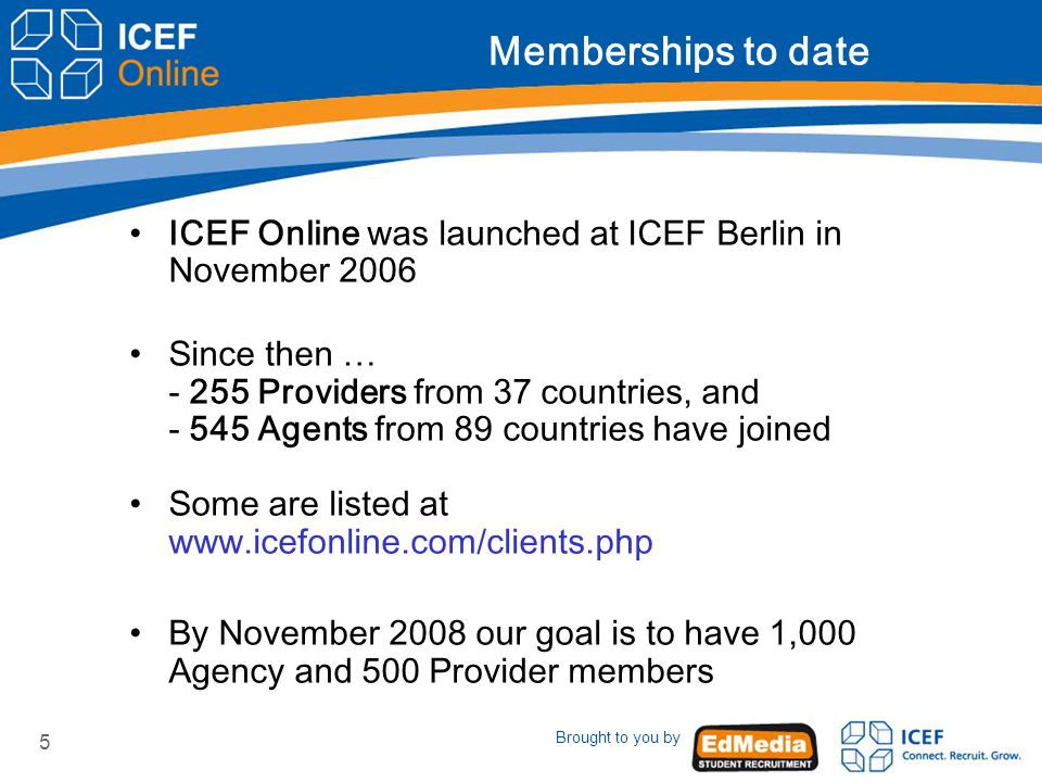 Brought to you by 5 Memberships to date ICEF Online was launched at ICEF Berlin in November 2006 Since then … Providers from 37 countries, and Agents from 89 countries have joined Some are listed at   By November 2008 our goal is to have 1,000 Agency and 500 Provider members
