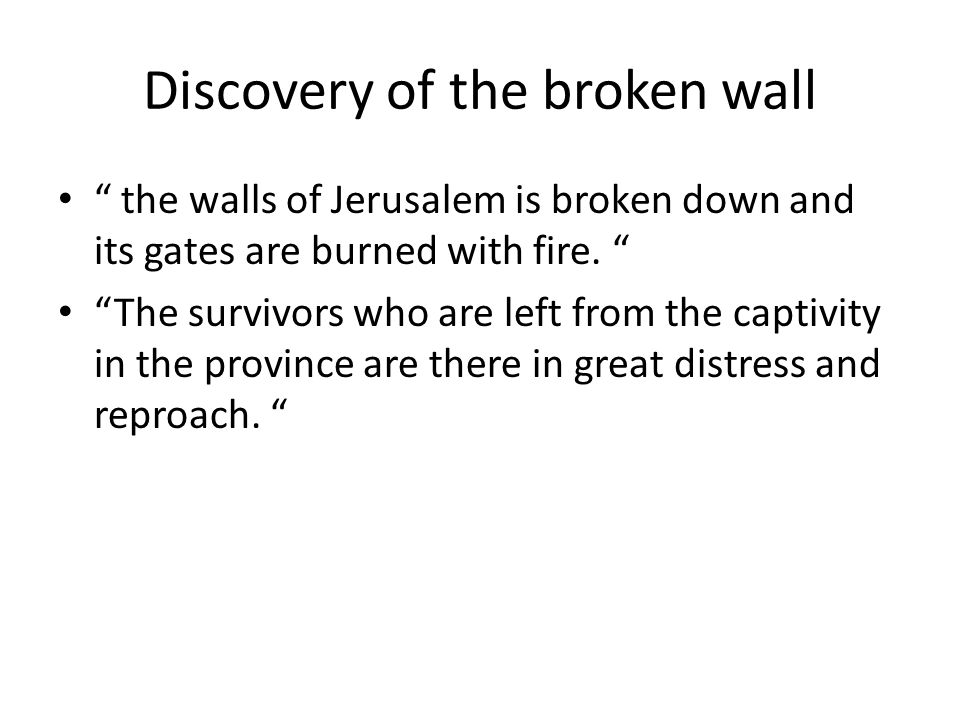 Discovery of the broken wall the walls of Jerusalem is broken down and its gates are burned with fire.