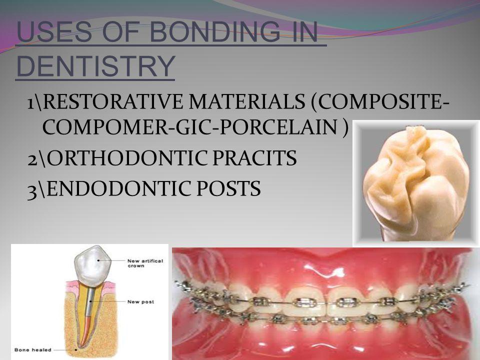 USES OF BONDING IN DENTISTRY 1\RESTORATIVE MATERIALS (COMPOSITE- COMPOMER-GIC-PORCELAIN ) 2\ORTHODONTIC PRACITS 3\ENDODONTIC POSTS