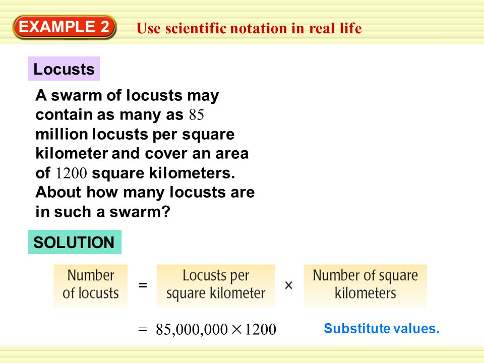 EXAMPLE 2 Use scientific notation in real life A swarm of locusts may contain as many as 85 million locusts per square kilometer and cover an area of 1200 square kilometers.