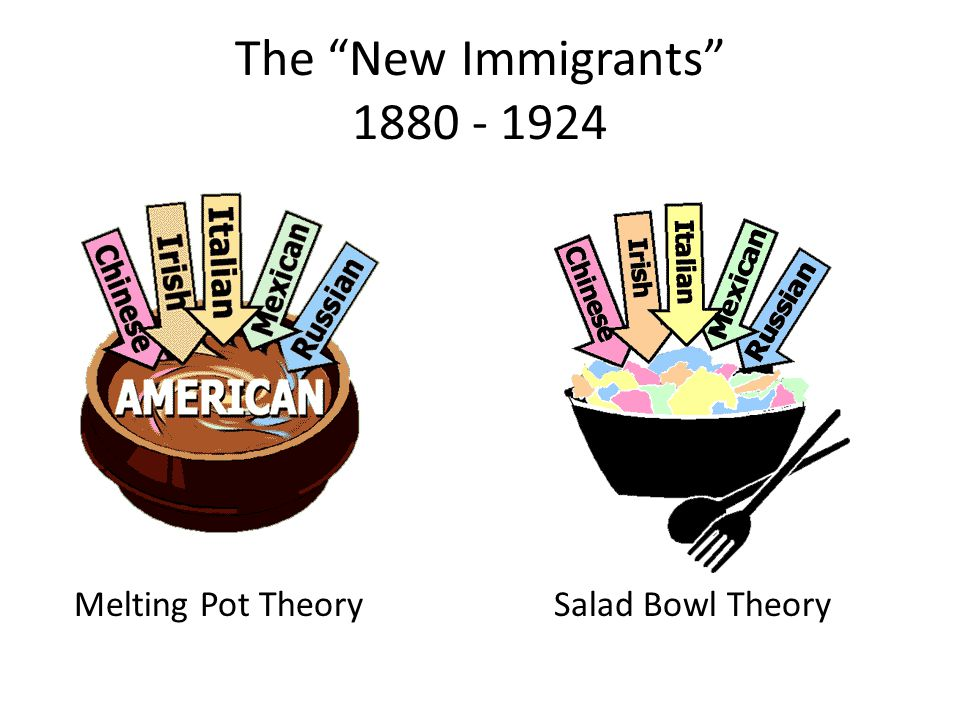The New Immigrants Melting Pot TheorySalad Bowl Theory