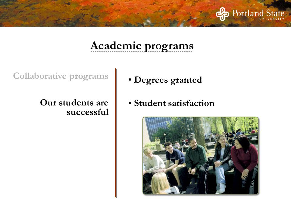 Degrees granted Student satisfaction Our students are successful Collaborative programs Academic programs