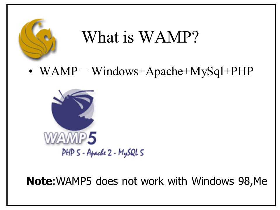 What is WAMP WAMP = Windows+Apache+MySql+PHP Note:WAMP5 does not work with Windows 98,Me