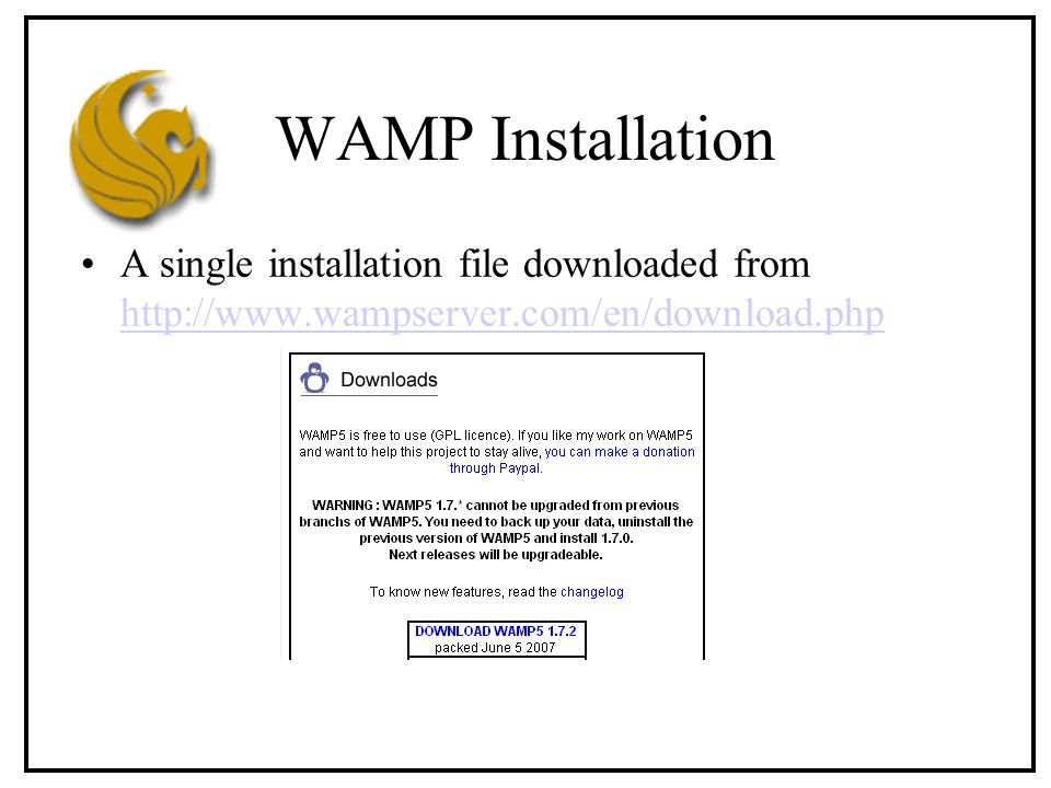 WAMP Installation A single installation file downloaded from