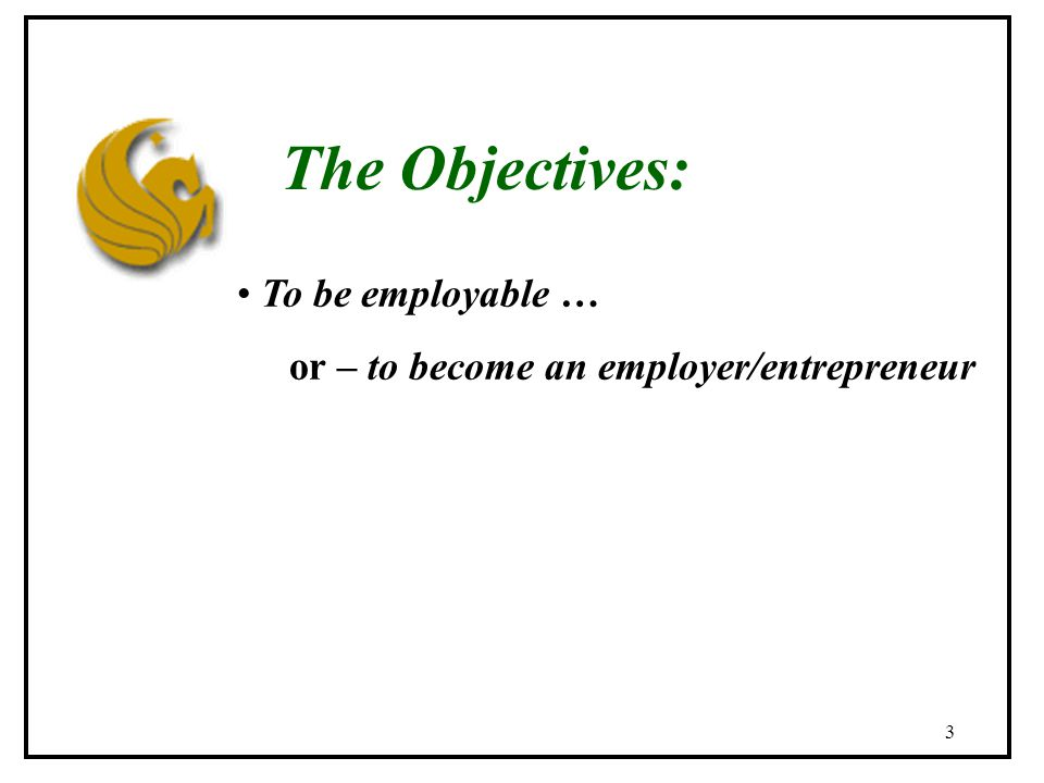 3 The Objectives: To be employable … or – to become an employer/entrepreneur