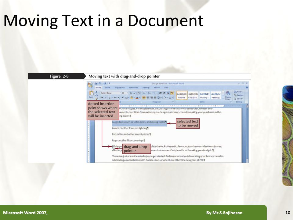 XP Moving Text in a Document Microsoft Word 2007, By Mr.S.Sajiharan10