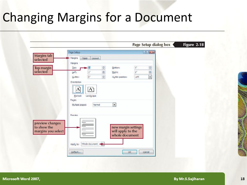 XP Changing Margins for a Document Microsoft Word 2007, By Mr.S.Sajiharan18
