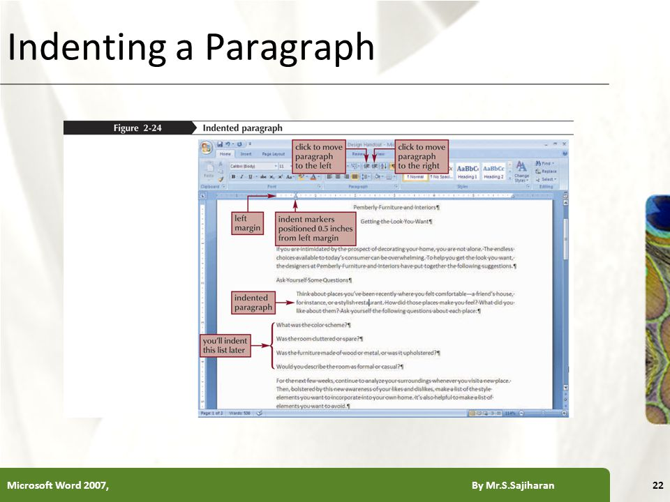 XP Indenting a Paragraph Microsoft Word 2007, By Mr.S.Sajiharan22