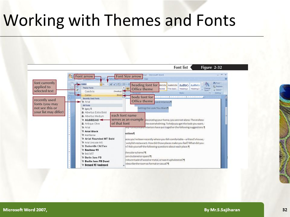 XP Working with Themes and Fonts Microsoft Word 2007, By Mr.S.Sajiharan32