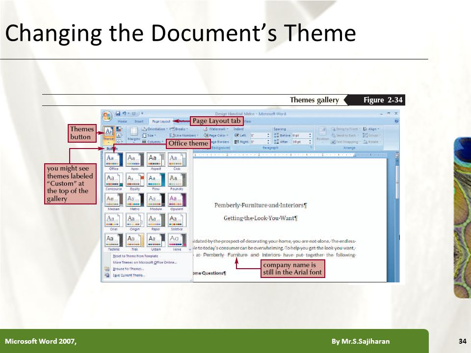 XP Changing the Document's Theme Microsoft Word 2007, By Mr.S.Sajiharan34
