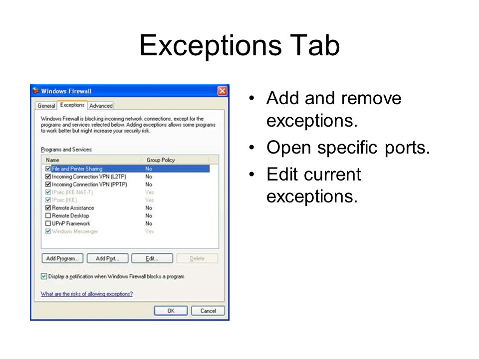Exceptions Tab Add and remove exceptions. Open specific ports. Edit current exceptions.