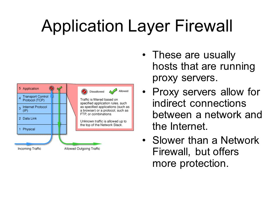 Application Layer Firewall These are usually hosts that are running proxy servers.
