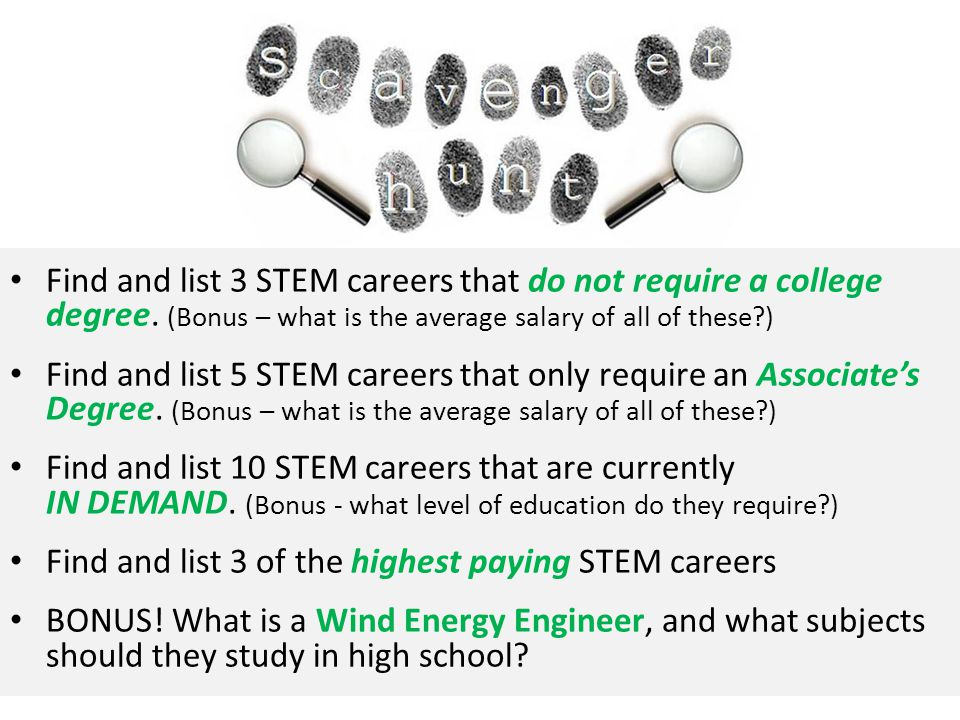 Find and list 3 STEM careers that do not require a college degree.