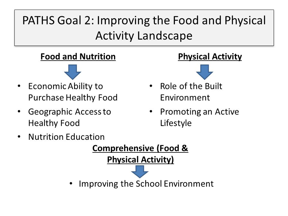 Food and Nutrition Economic Ability to Purchase Healthy Food Geographic Access to Healthy Food Nutrition Education Physical Activity Role of the Built Environment Promoting an Active Lifestyle PATHS Goal 2: Improving the Food and Physical Activity Landscape Improving the School Environment Comprehensive (Food & Physical Activity)
