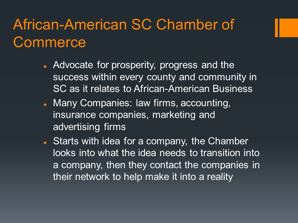 African-American SC Chamber of Commerce Advocate for prosperity, progress and the success within every county and community in SC as it relates to African-American Business Many Companies: law firms, accounting, insurance companies, marketing and advertising firms Starts with idea for a company, the Chamber looks into what the idea needs to transition into a company, then they contact the companies in their network to help make it into a reality