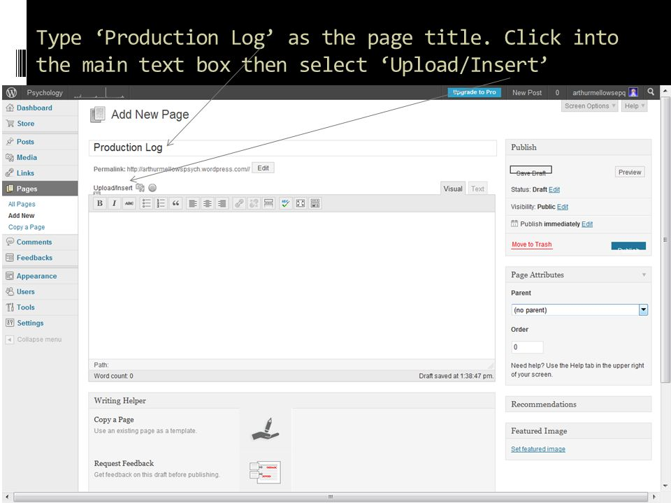 Type 'Production Log' as the page title. Click into the main text box then select 'Upload/Insert'