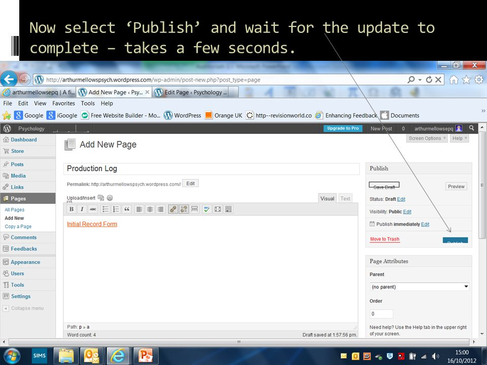Now select 'Publish' and wait for the update to complete – takes a few seconds.