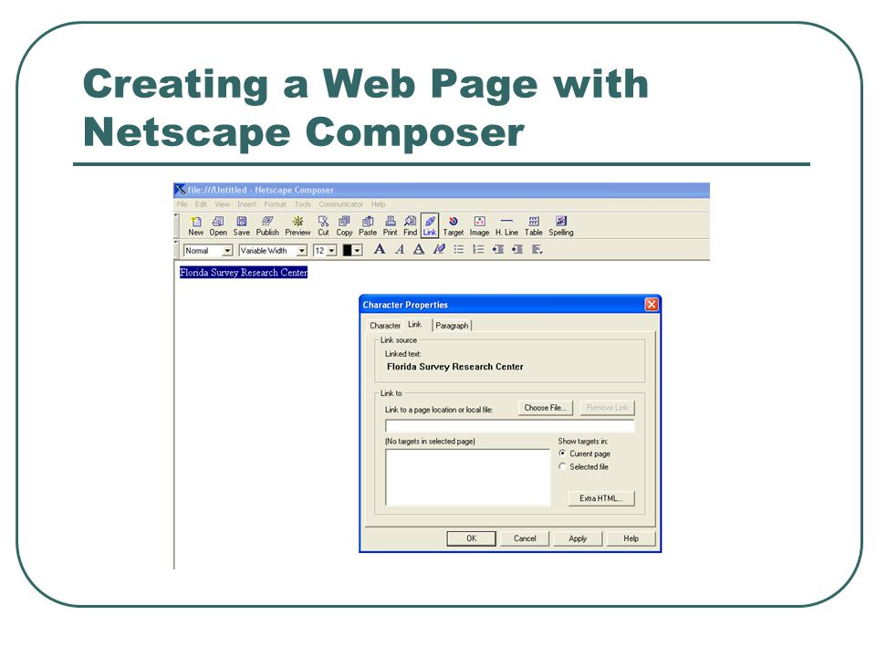Creating a Web Page with Netscape Composer