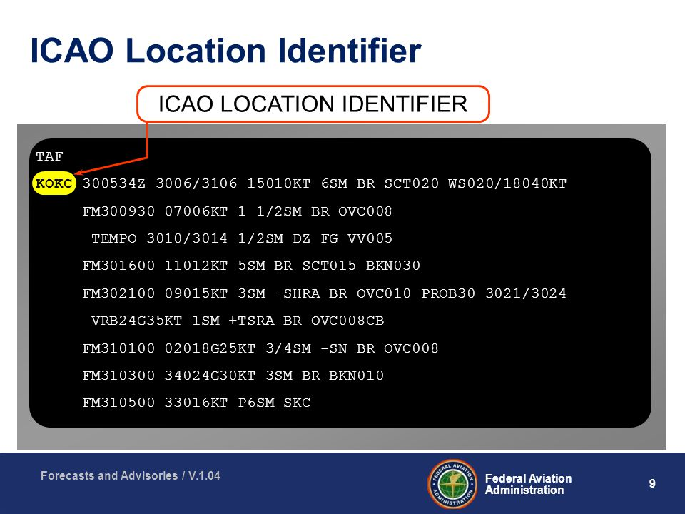 9 Federal Aviation Administration Forecasts and Advisories / V.1.04 ICAO Location Identifier TAF KOKC Z 3006/ KT 6SM BR SCT020 WS020/18040KT FM KT 1 1/2SM BR OVC008 TEMPO 3010/3014 1/2SM DZ FG VV005 FM KT 5SM BR SCT015 BKN030 FM KT 3SM –SHRA BR OVC010 PROB /3024 VRB24G35KT 1SM +TSRA BR OVC008CB FM G25KT 3/4SM -SN BR OVC008 FM G30KT 3SM BR BKN010 FM KT P6SM SKC ICAO LOCATION IDENTIFIER