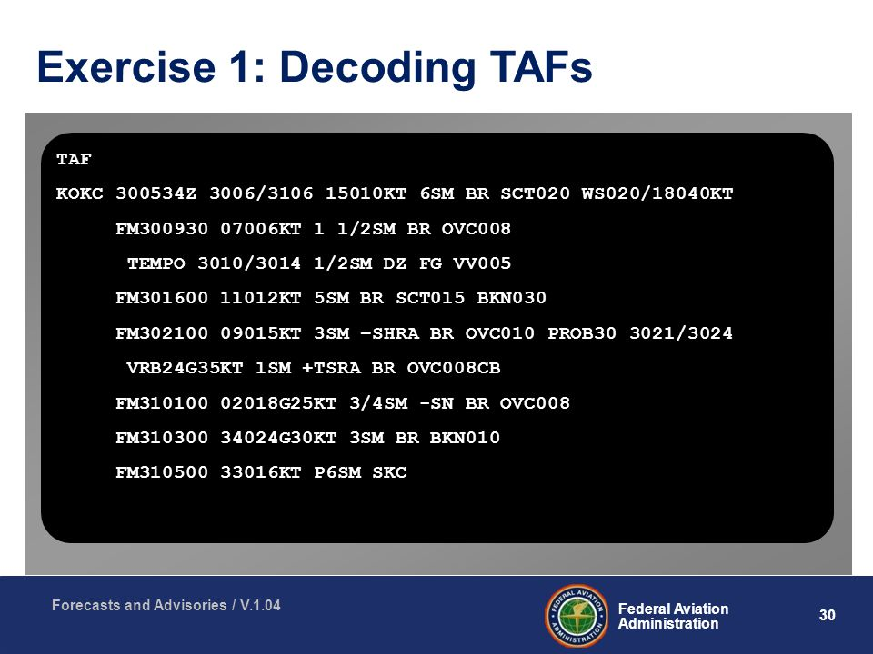 30 Federal Aviation Administration Forecasts and Advisories / V.1.04 Exercise 1: Decoding TAFs TAF KOKC Z 3006/ KT 6SM BR SCT020 WS020/18040KT FM KT 1 1/2SM BR OVC008 TEMPO 3010/3014 1/2SM DZ FG VV005 FM KT 5SM BR SCT015 BKN030 FM KT 3SM –SHRA BR OVC010 PROB /3024 VRB24G35KT 1SM +TSRA BR OVC008CB FM G25KT 3/4SM -SN BR OVC008 FM G30KT 3SM BR BKN010 FM KT P6SM SKC