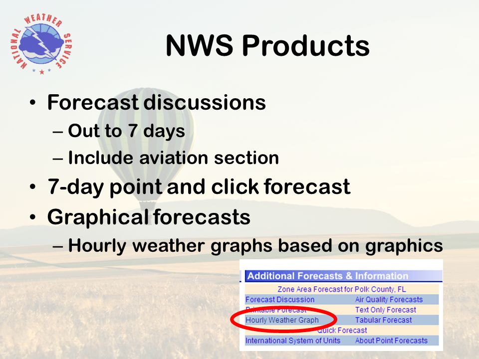 NWS Products Forecast discussions – Out to 7 days – Include aviation section 7-day point and click forecast Graphical forecasts – Hourly weather graphs based on graphics