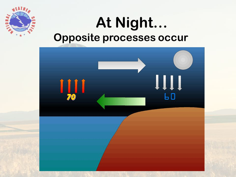 At Night… Opposite processes occur