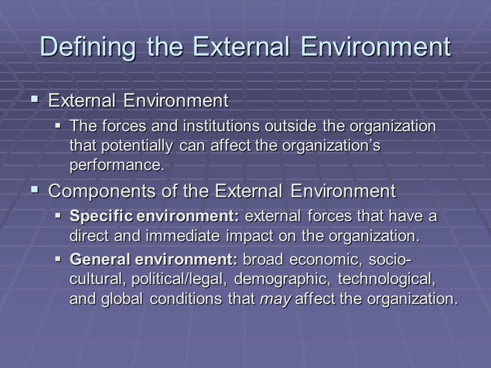 Defining the External Environment  External Environment  The forces and institutions outside the organization that potentially can affect the organi