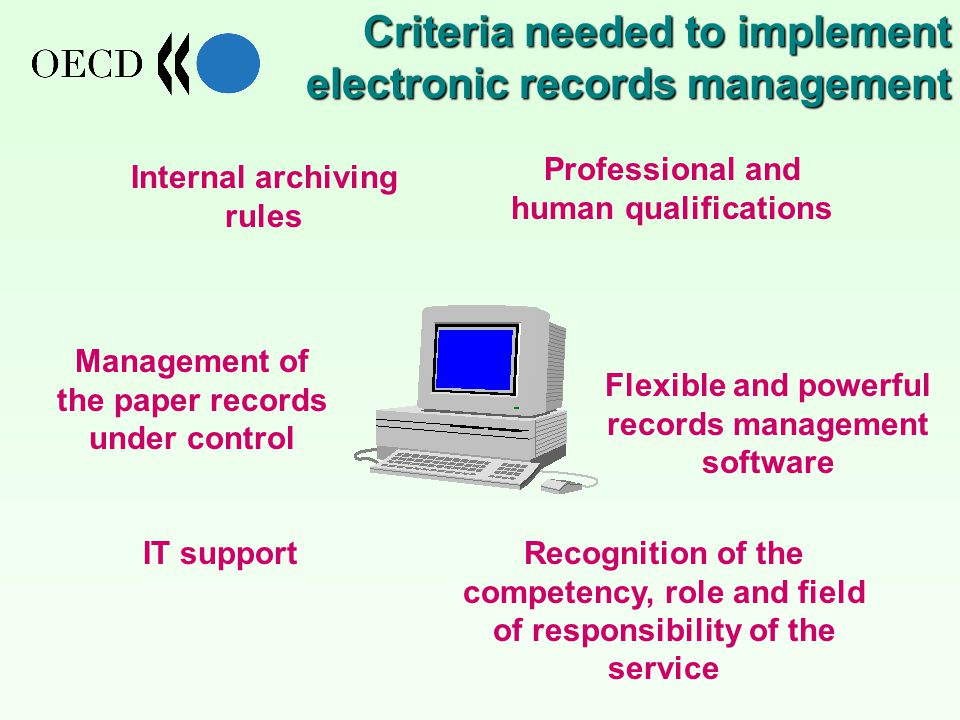 Flexible and powerful records management software Internal archiving rules Management of the paper records under control Professional and human qualifications Recognition of the competency, role and field of responsibility of the service IT support