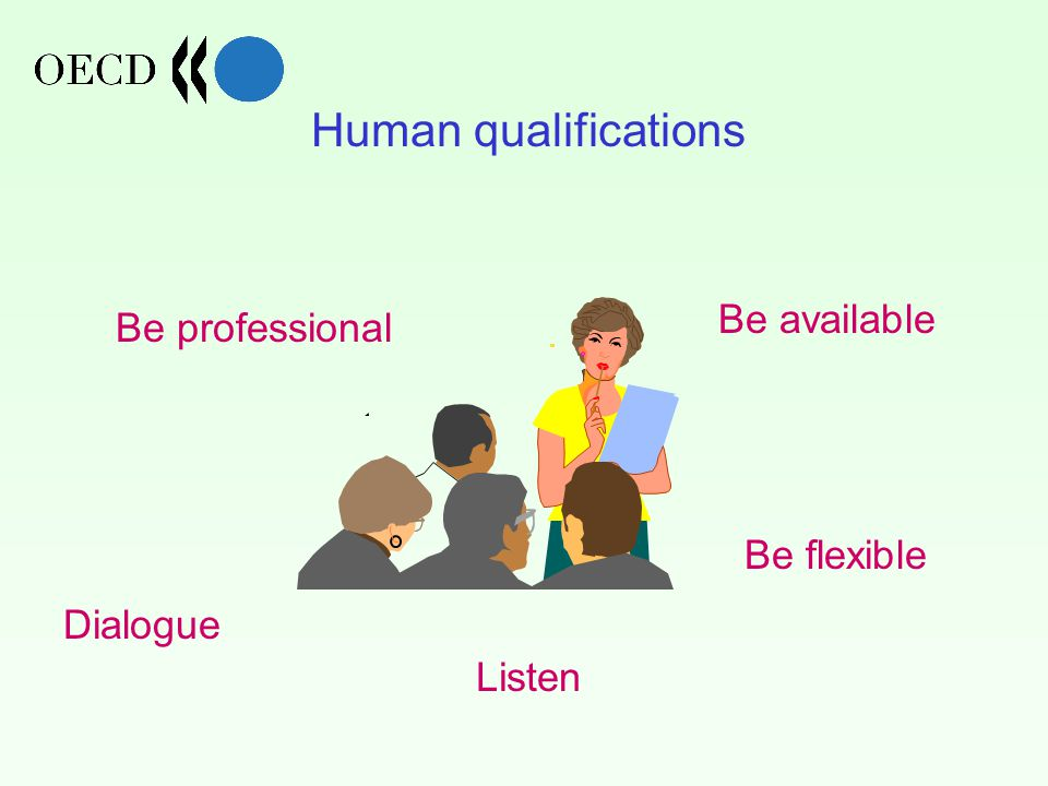Human qualifications Dialogue Listen Be available Be flexible Be professional