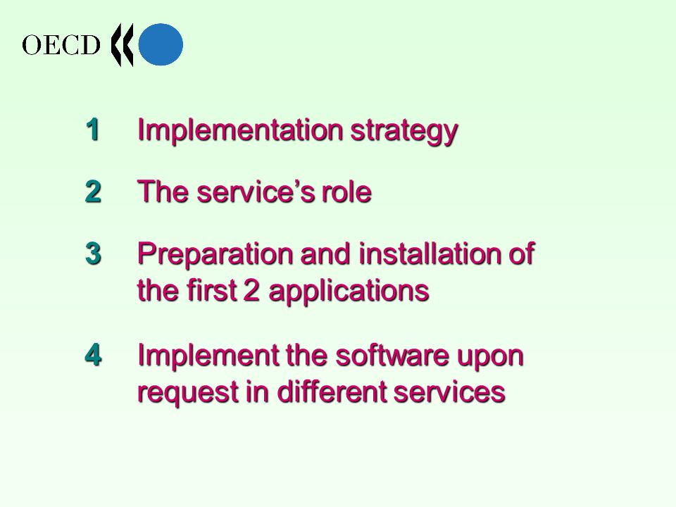 Implementation strategy The service's role Preparation and installation of the first 2 applications Implement the software upon request in different services