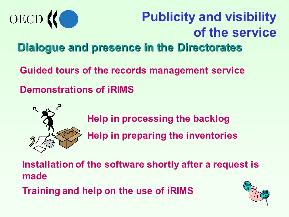 Publicity and visibility of the service Dialogue and presence in the Directorates Training and help on the use of iRIMS Guided tours of the records management service Demonstrations of iRIMS Help in processing the backlog Help in preparing the inventories Installation of the software shortly after a request is made