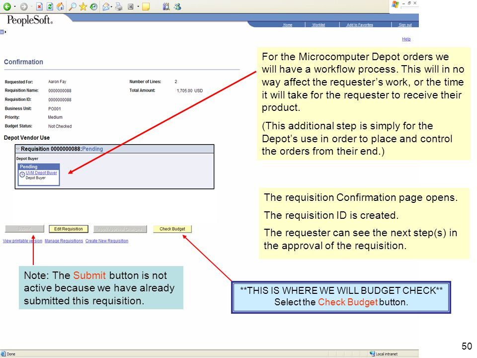50 The requisition Confirmation page opens. The requisition ID is created.