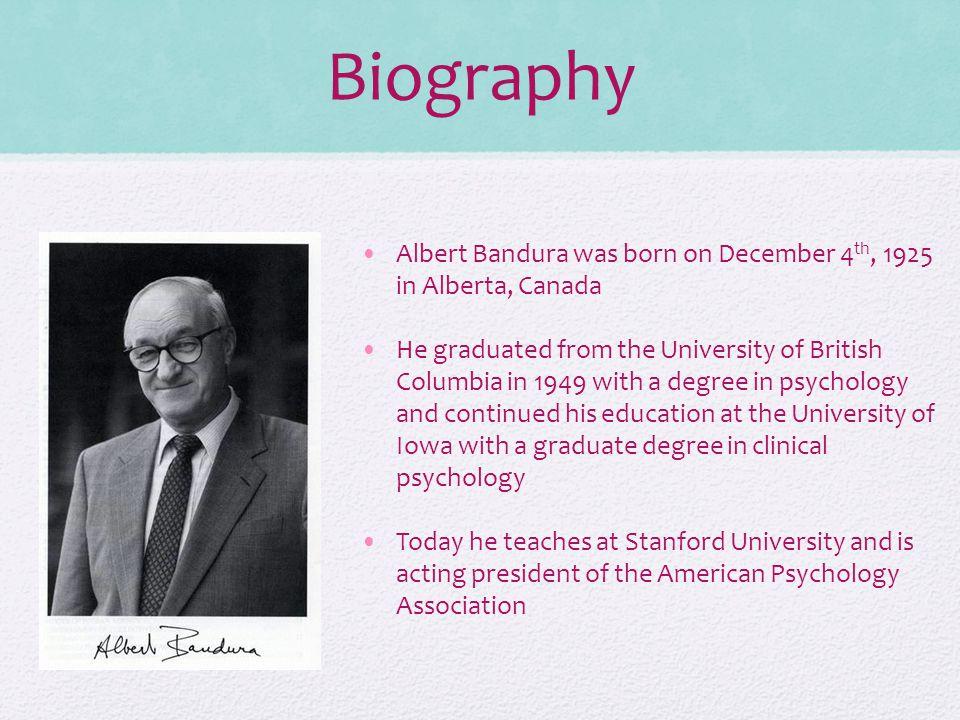 a biography of albert bandura a canadian psychologist