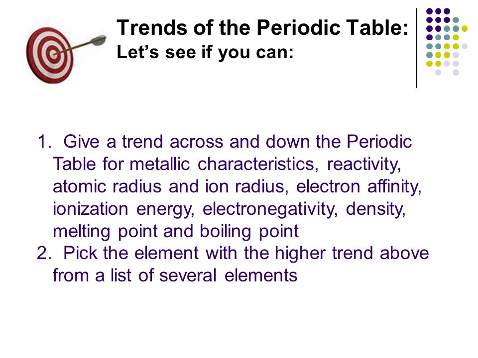 Trends of the Periodic Table: Let's see if you can: 1.