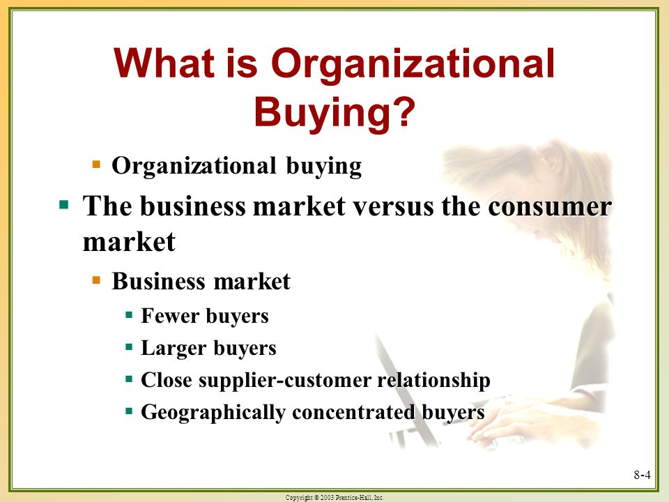 Copyright © 2003 Prentice-Hall, Inc. 8-4 What is Organizational Buying.