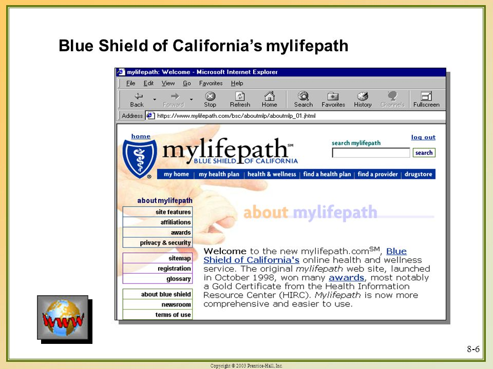 Copyright © 2003 Prentice-Hall, Inc. 8-6 Blue Shield of California's mylifepath