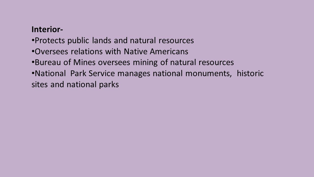 Interior- Protects public lands and natural resources Oversees relations with Native Americans Bureau of Mines oversees mining of natural resources National Park Service manages national monuments, historic sites and national parks
