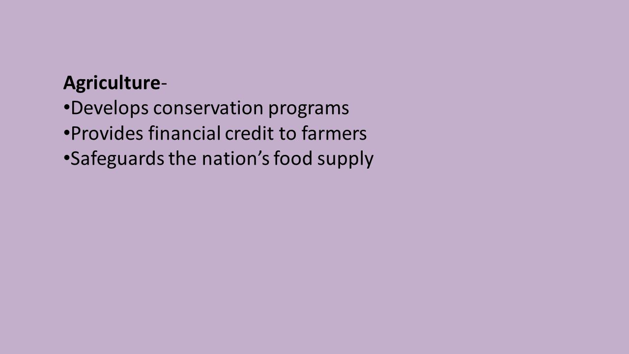 Agriculture- Develops conservation programs Provides financial credit to farmers Safeguards the nation's food supply