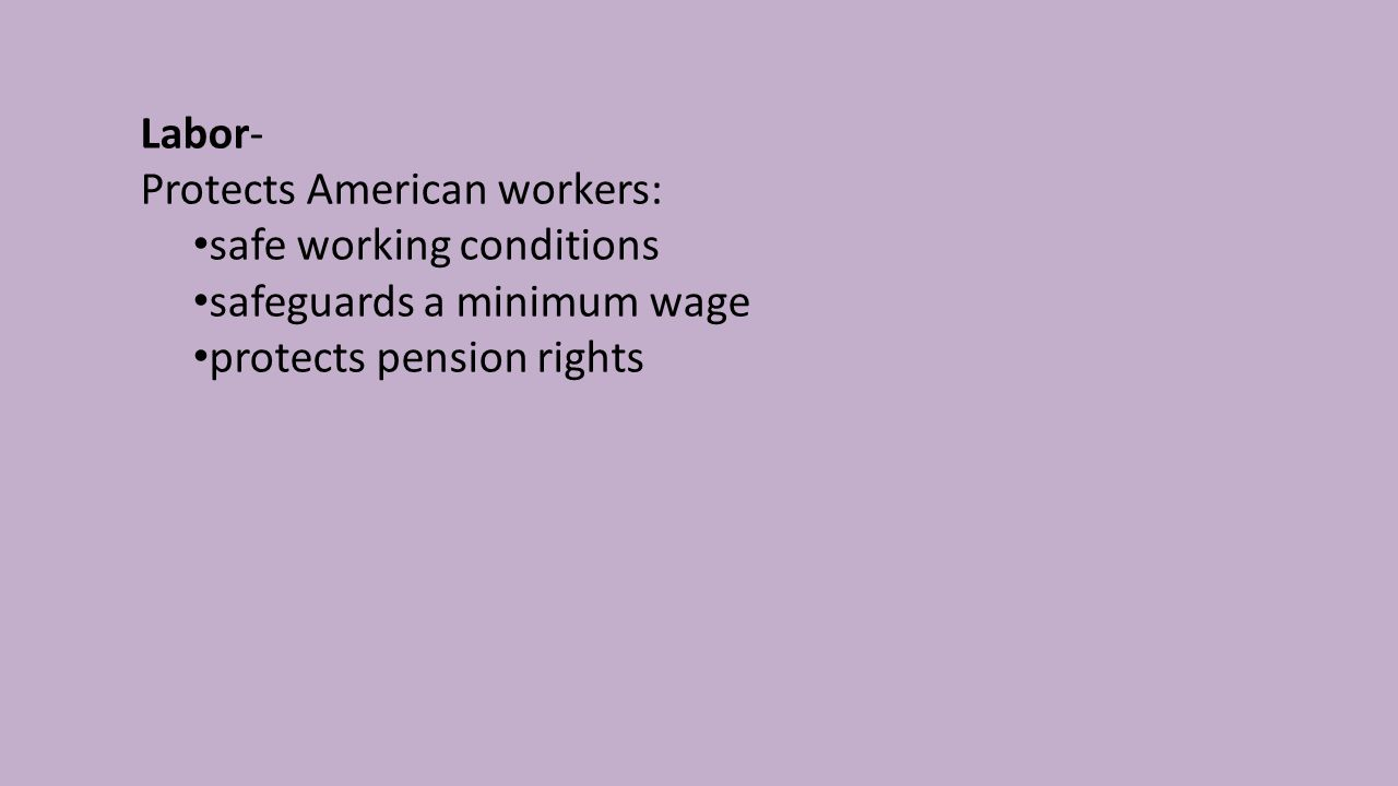 Labor- Protects American workers: safe working conditions safeguards a minimum wage protects pension rights