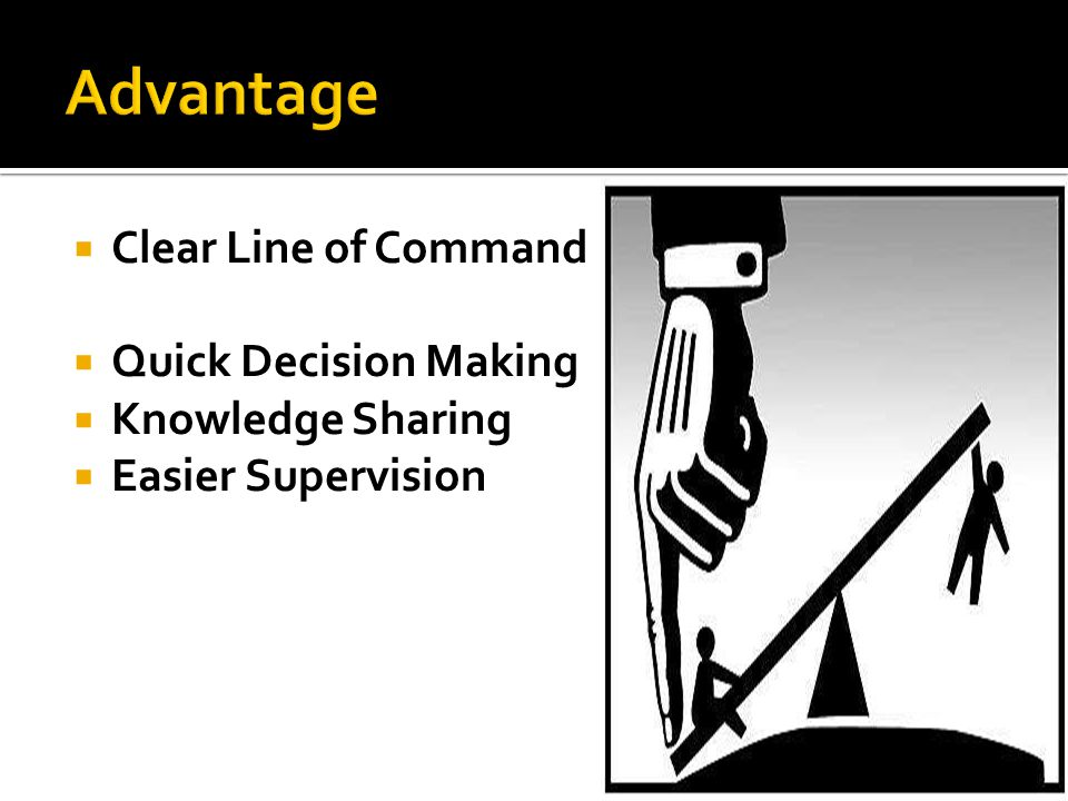  Clear Line of Command  Quick Decision Making  Knowledge Sharing  Easier Supervision