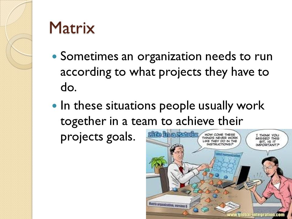 Matrix Sometimes an organization needs to run according to what projects they have to do. In these situations people usually work together in a team t