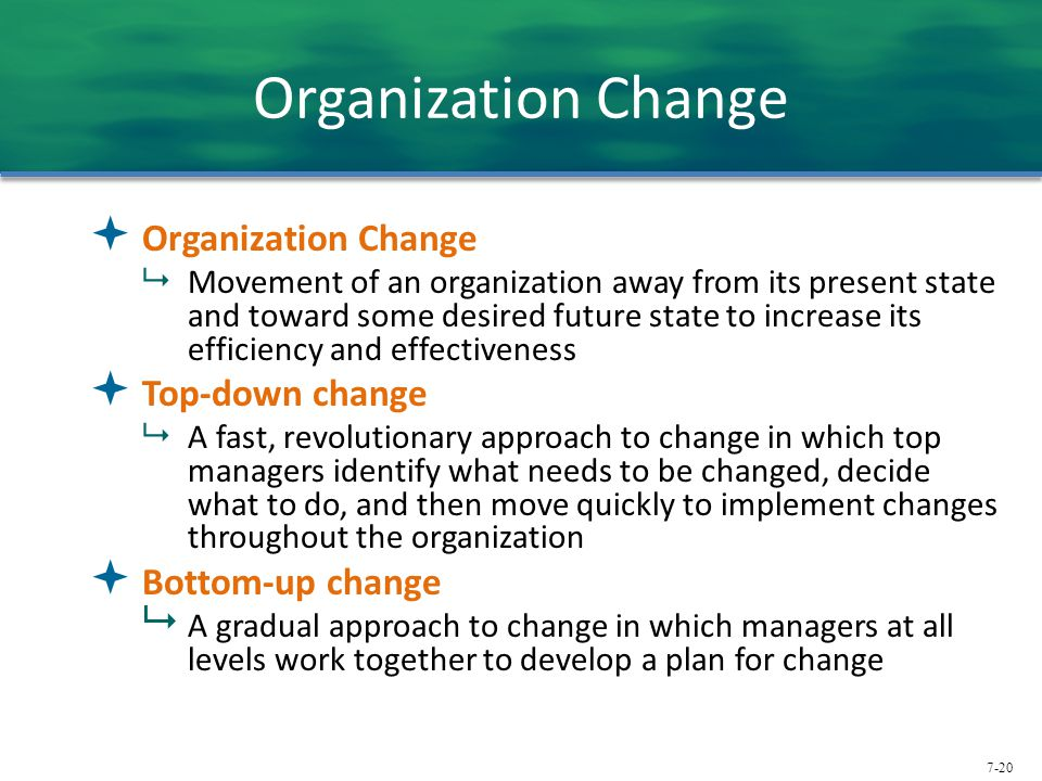 7-20 Organization Change  Organization Change  Movement of an organization away from its present state and toward some desired future state to incre