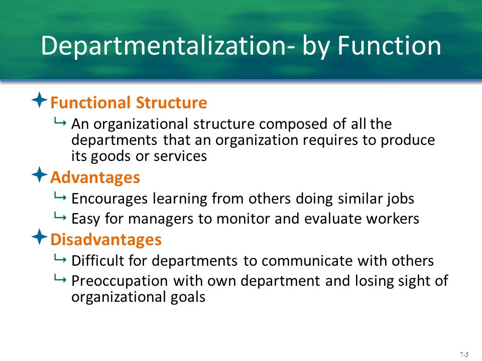 7-5 Departmentalization- by Function  Functional Structure  An organizational structure composed of all the departments that an organization require