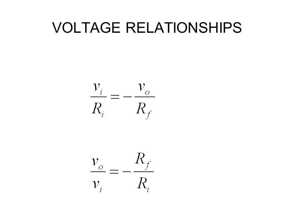 VOLTAGE RELATIONSHIPS