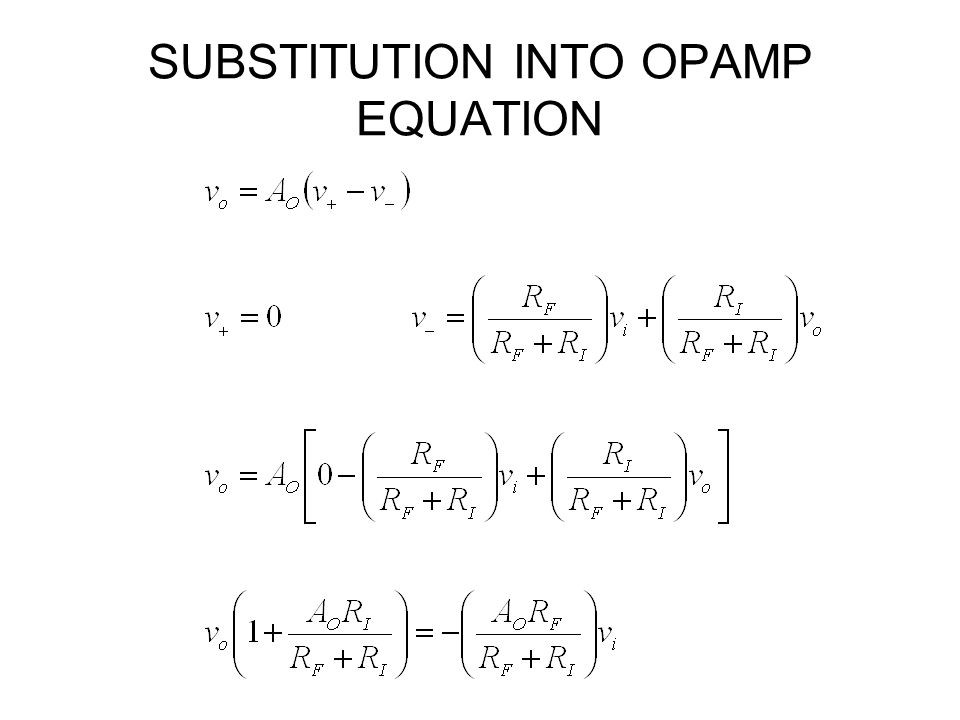 SUBSTITUTION INTO OPAMP EQUATION