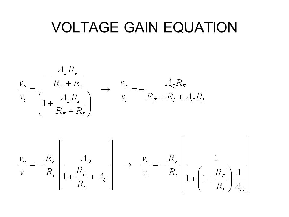 VOLTAGE GAIN EQUATION