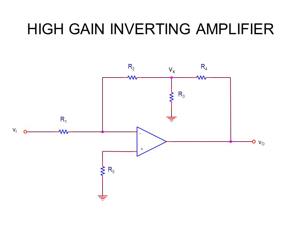 HIGH GAIN INVERTING AMPLIFIER R2R2 R4R4 R3R3 R5R5 + - vOvO R1R1 vIvI vxvx