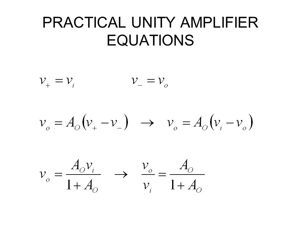 PRACTICAL UNITY AMPLIFIER EQUATIONS